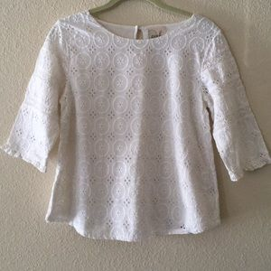 Nordstrom (Peek) Eyelet and Lace Qtr Sleeve Top